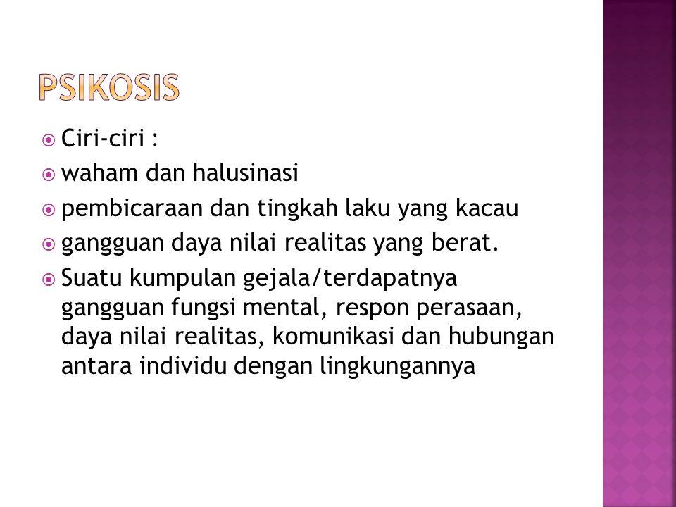 Psikosis Ciri-ciri : waham dan halusinasi