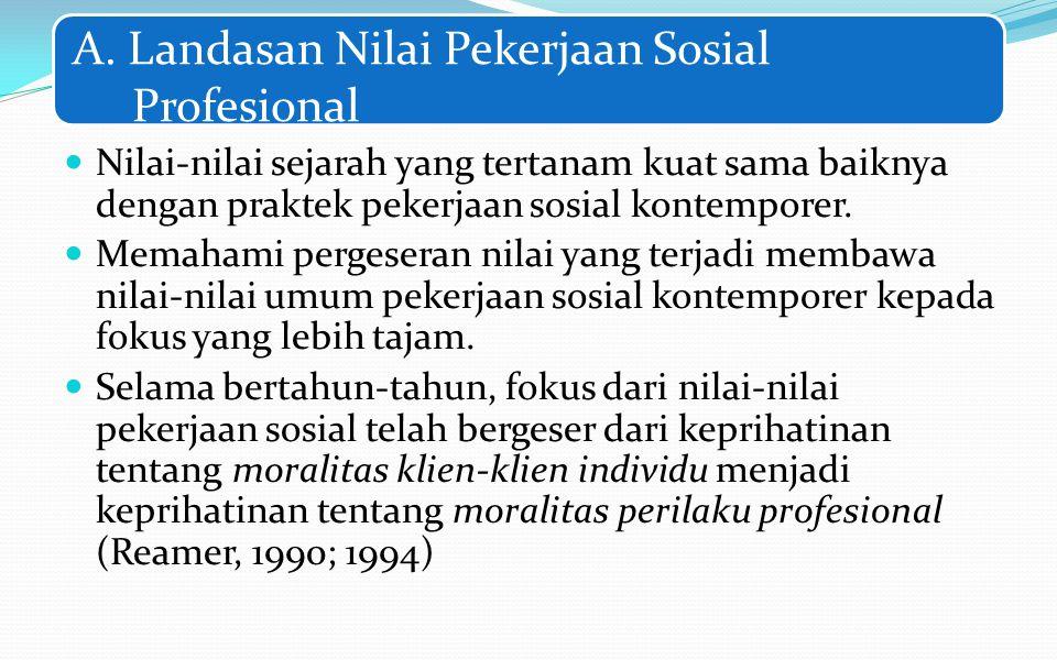 A. Landasan Nilai Pekerjaan Sosial Profesional