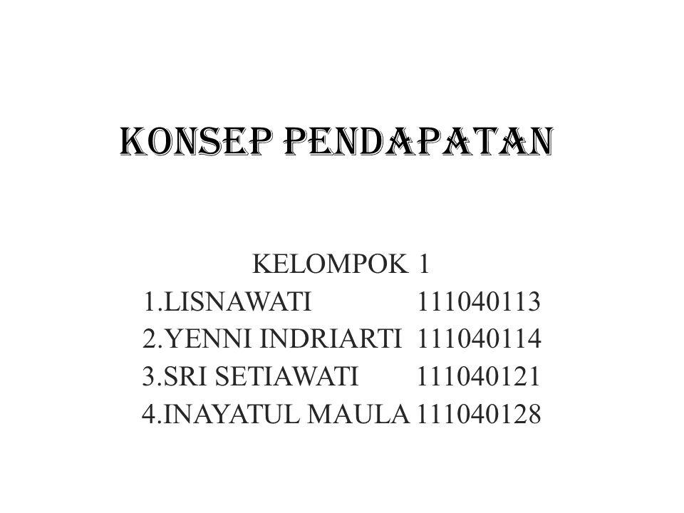 KONSEP PENDAPATAN KELOMPOK 1 1.LISNAWATI 111040113