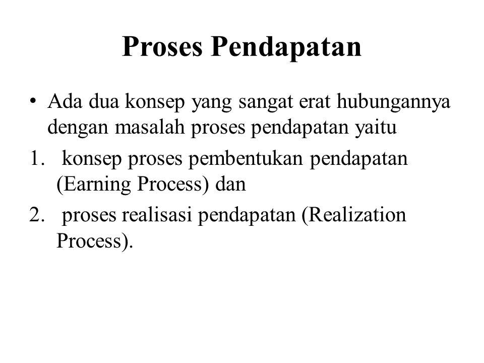 Proses Pendapatan Ada dua konsep yang sangat erat hubungannya dengan masalah proses pendapatan yaitu.