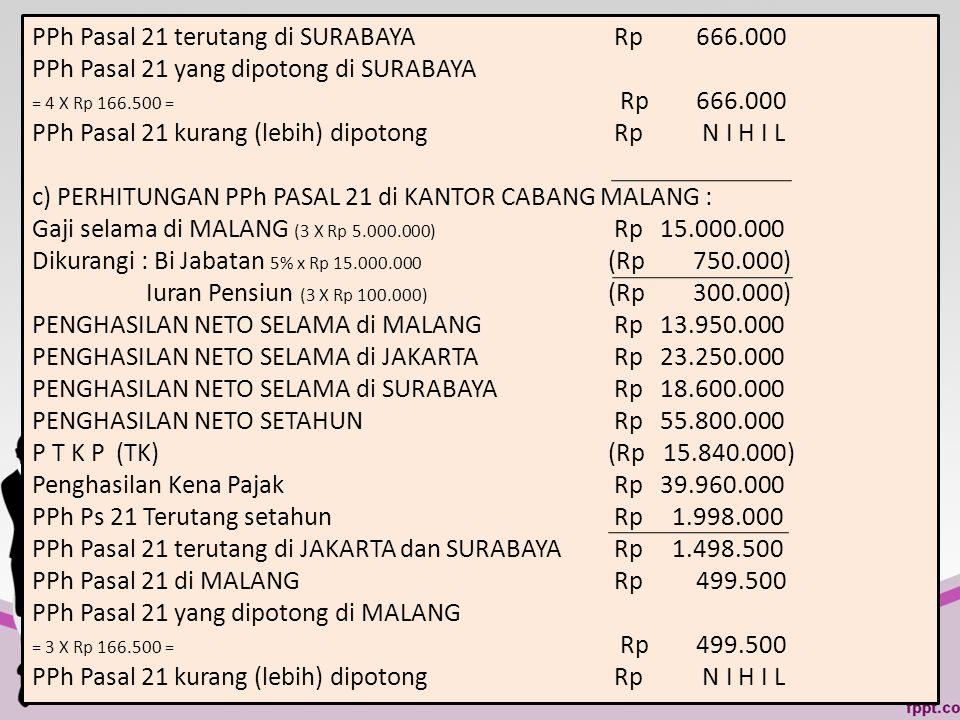 PPh Pasal 21 terutang di SURABAYA Rp 666.000