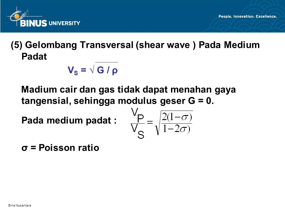 (5) Gelombang Transversal (shear wave ) Pada Medium Padat VS = √ G / ρ