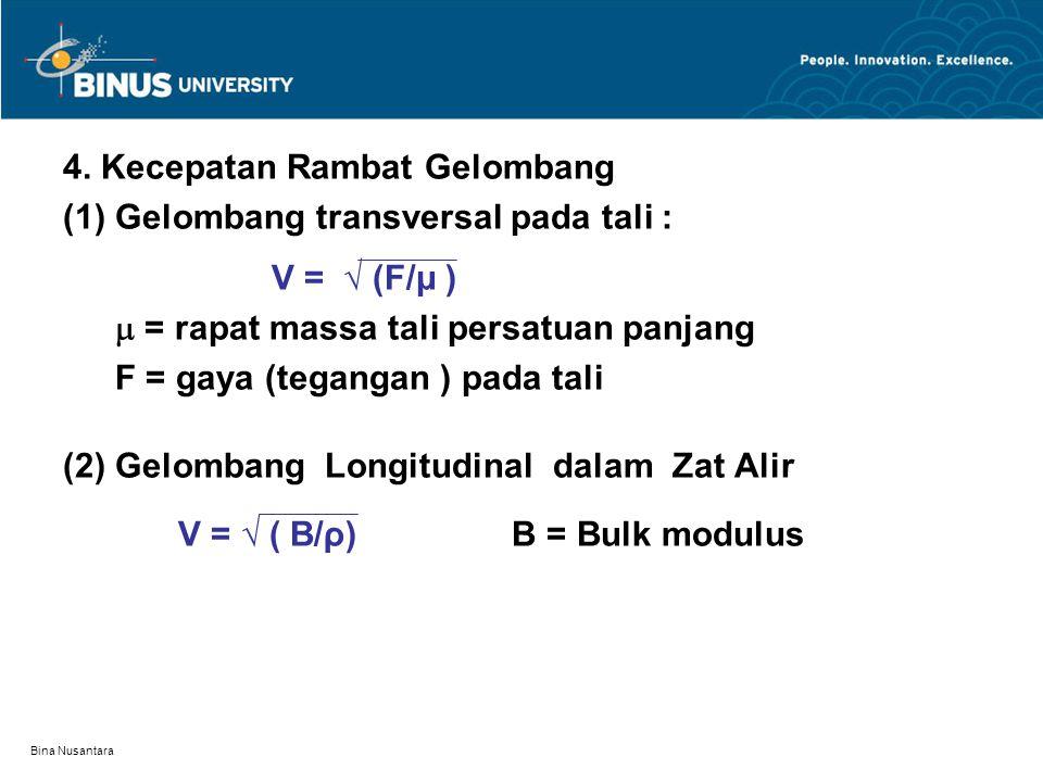 4. Kecepatan Rambat Gelombang (1) Gelombang transversal pada tali :