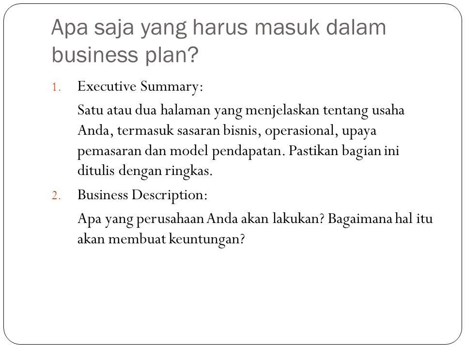 Apa saja yang harus masuk dalam business plan