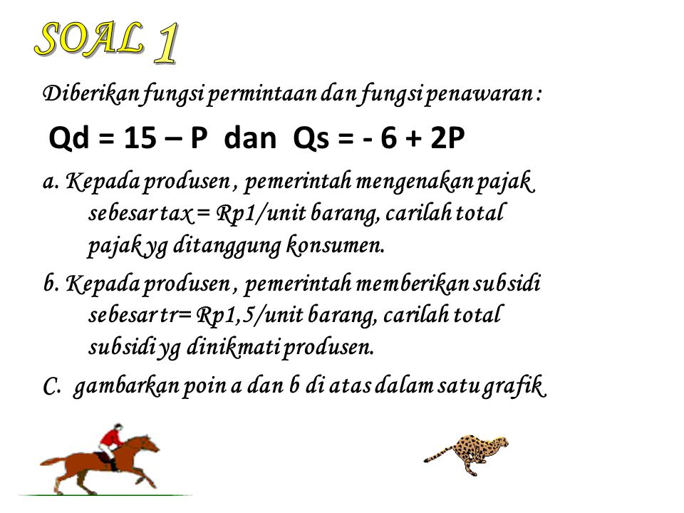 SOAL 1. Diberikan fungsi permintaan dan fungsi penawaran : Qd = 15 – P dan Qs = - 6 + 2P.