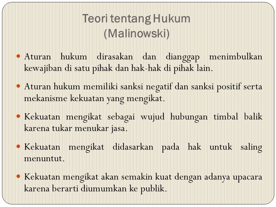 Teori tentang Hukum (Malinowski)