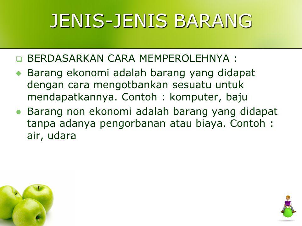 JENIS-JENIS BARANG BERDASARKAN CARA MEMPEROLEHNYA :
