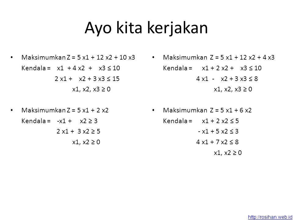 Ayo kita kerjakan Maksimumkan Z = 5 x1 + 12 x2 + 10 x3