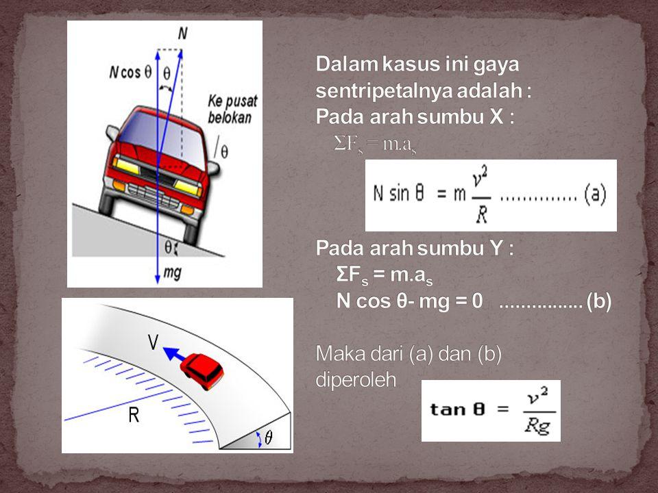 Dalam kasus ini gaya sentripetalnya adalah : Pada arah sumbu X : ΣFs = m.as Pada arah sumbu Y : ΣFs = m.as N cos θ- mg = 0 ................
