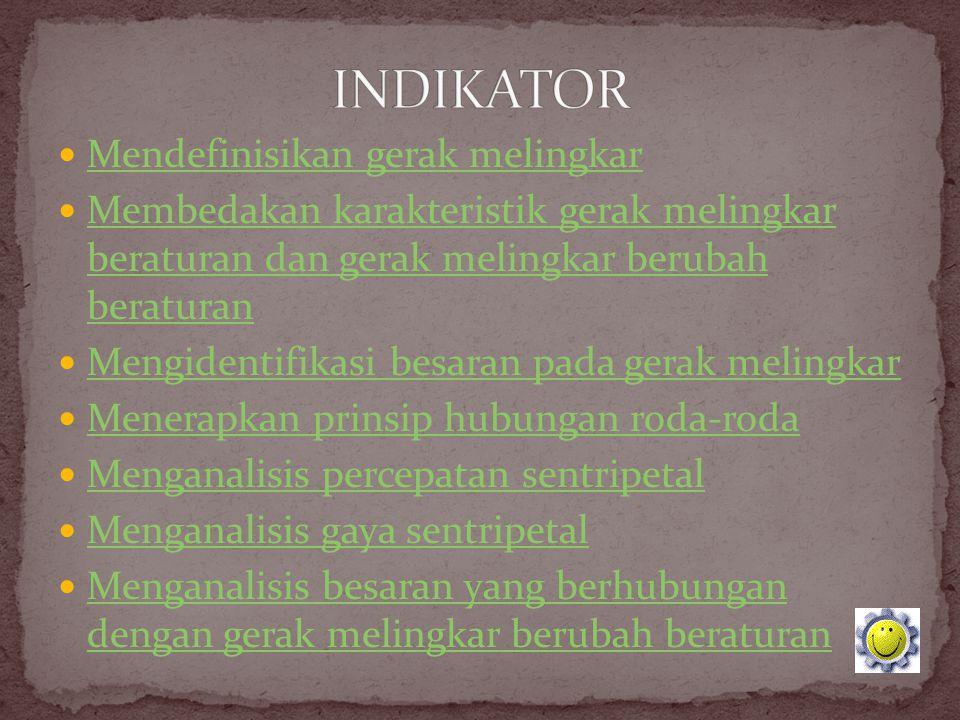 INDIKATOR Mendefinisikan gerak melingkar