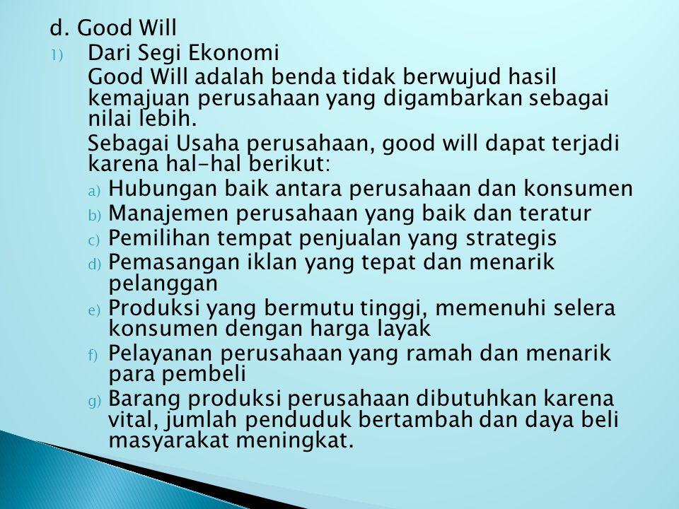 d. Good Will Dari Segi Ekonomi. Good Will adalah benda tidak berwujud hasil kemajuan perusahaan yang digambarkan sebagai nilai lebih.