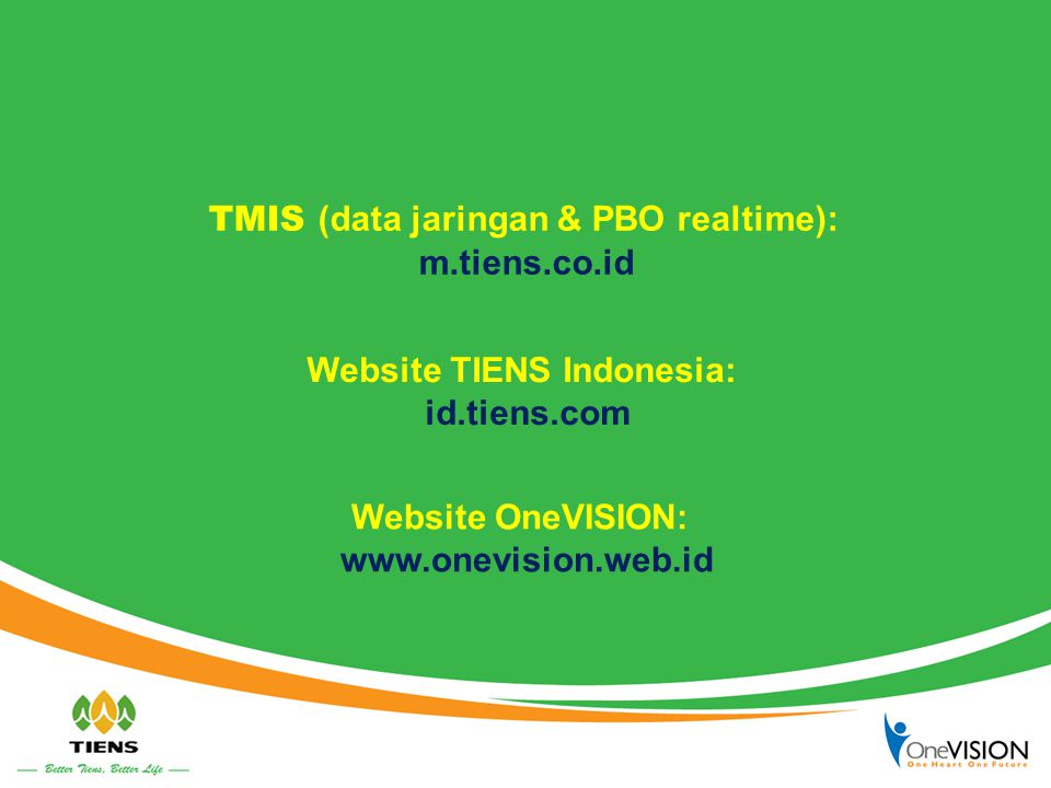 TMIS (data jaringan & PBO realtime): Website TIENS Indonesia: