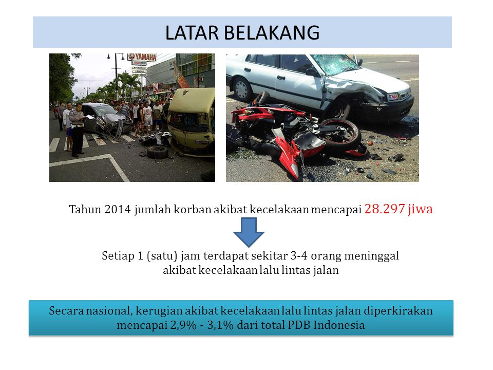 LATAR BELAKANG Tahun 2014 jumlah korban akibat kecelakaan mencapai 28.297 jiwa. Setiap 1 (satu) jam terdapat sekitar 3-4 orang meninggal.
