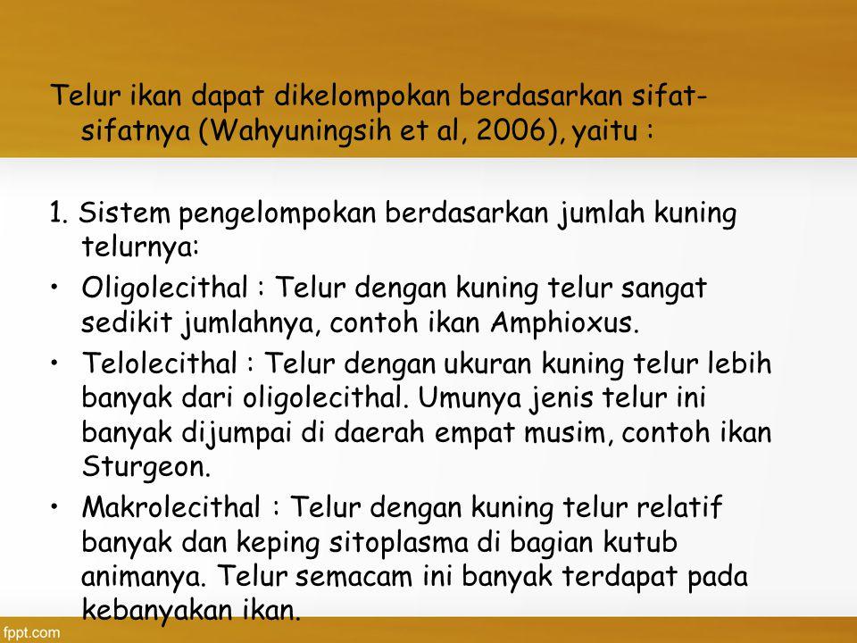 Telur ikan dapat dikelompokan berdasarkan sifat-sifatnya (Wahyuningsih et al, 2006), yaitu :