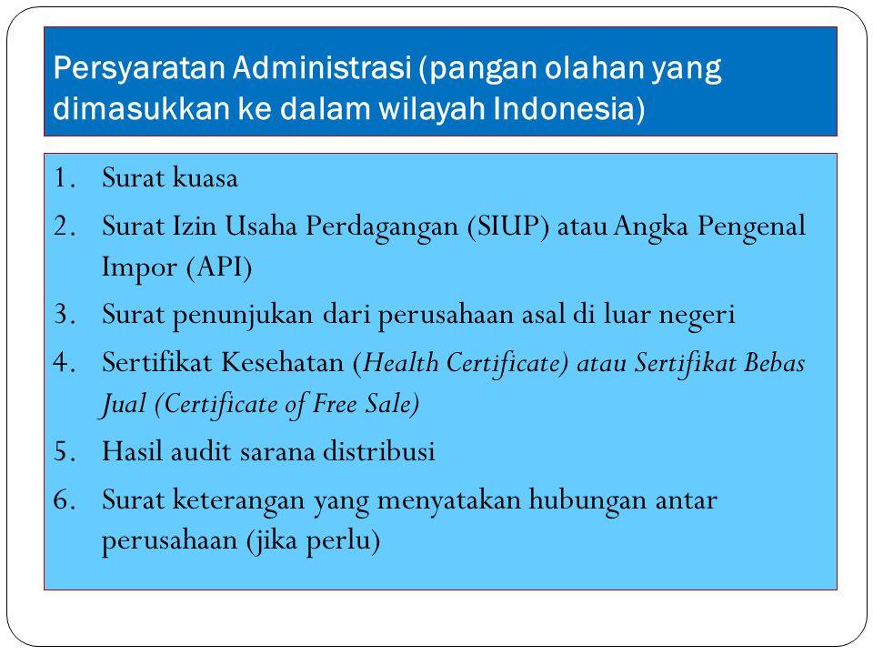 Persyaratan Administrasi (pangan olahan yang dimasukkan ke dalam wilayah Indonesia)