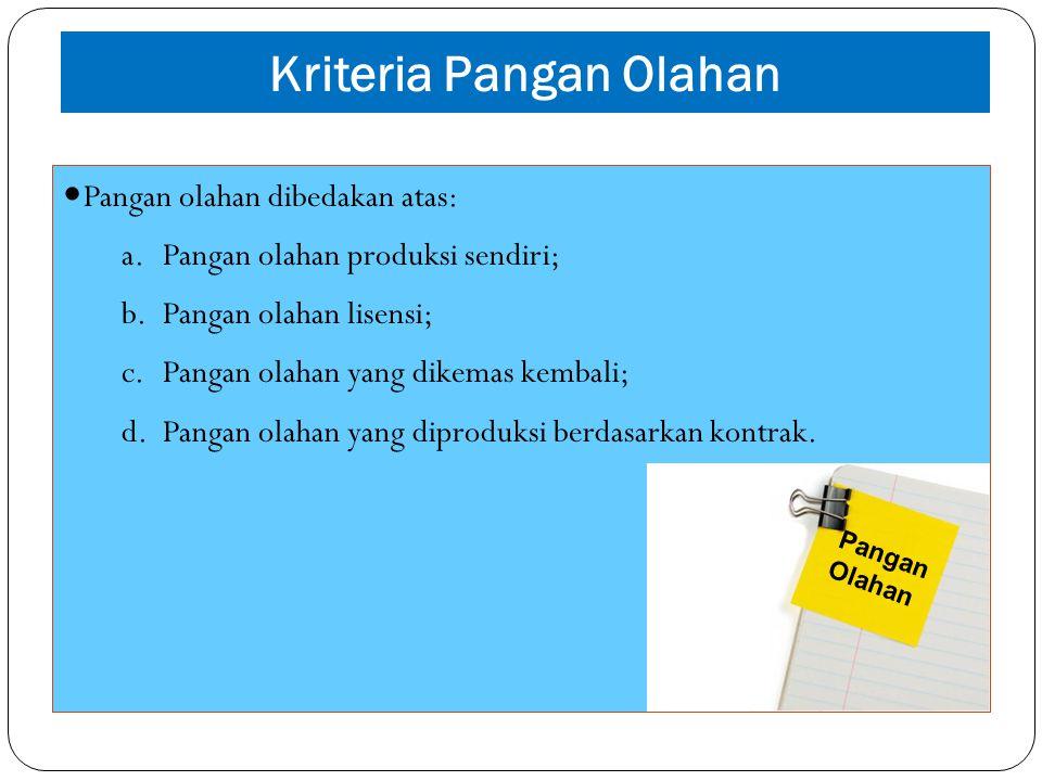Kriteria Pangan Olahan