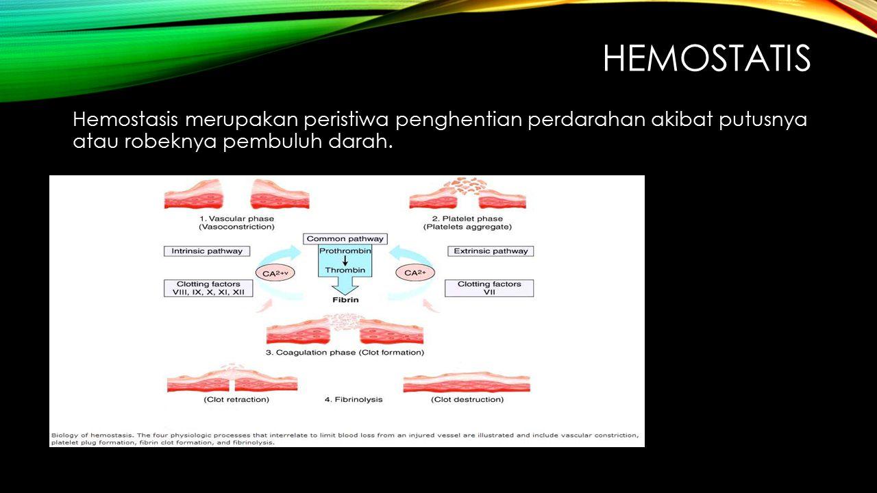 HEMOSTATIS Hemostasis merupakan peristiwa penghentian perdarahan akibat putusnya atau robeknya pembuluh darah.