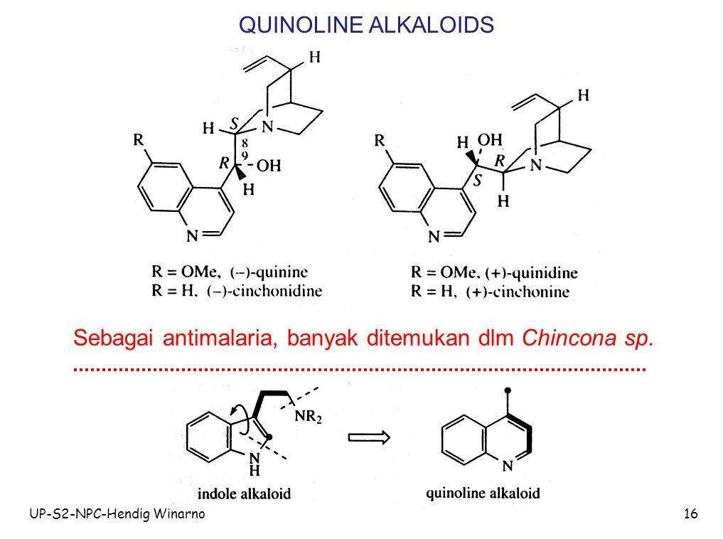 Sebagai antimalaria, banyak ditemukan dlm Chincona sp.