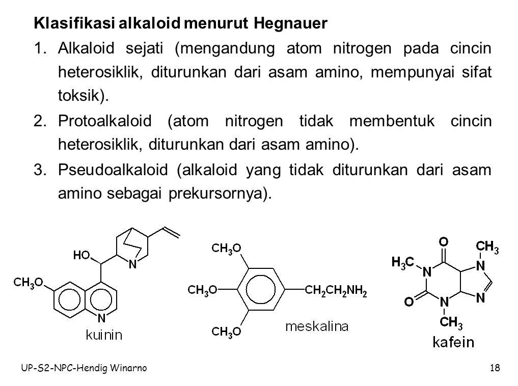 Klasifikasi alkaloid menurut Hegnauer