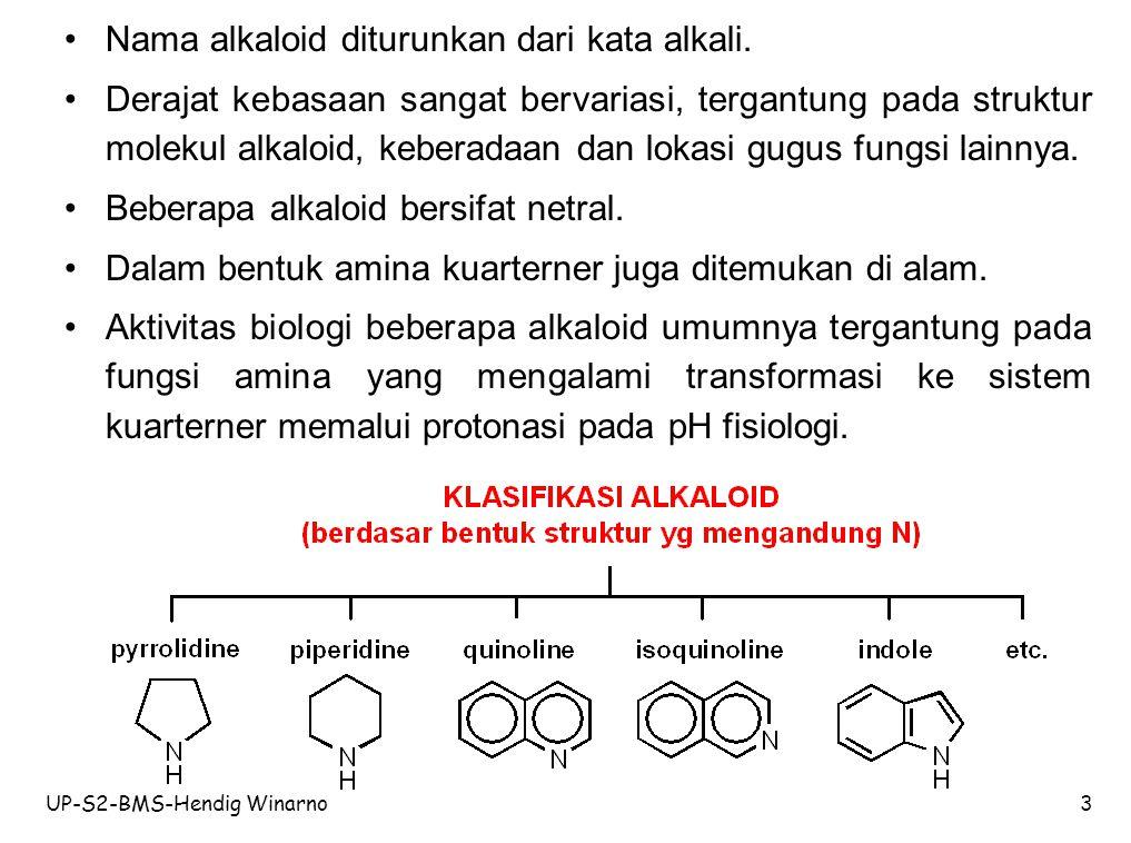 Nama alkaloid diturunkan dari kata alkali.