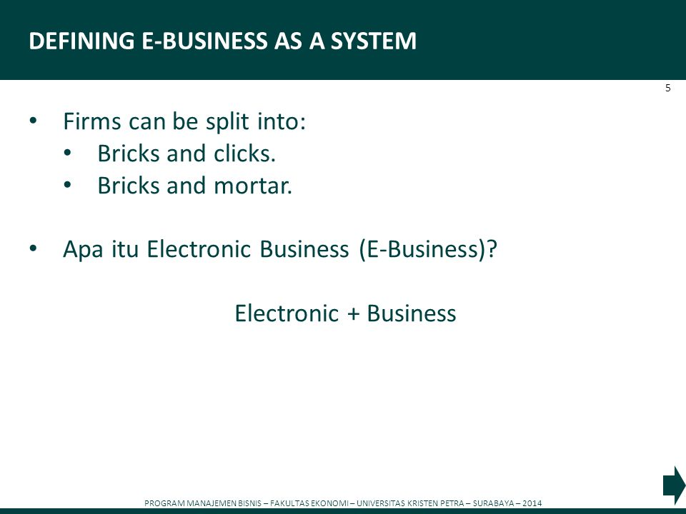 DEFINING E-BUSINESS AS A SYSTEM