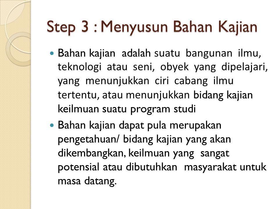 Step 3 : Menyusun Bahan Kajian