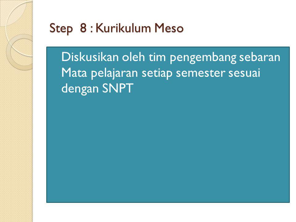 Step 8 : Kurikulum Meso Diskusikan oleh tim pengembang sebaran Mata pelajaran setiap semester sesuai dengan SNPT.