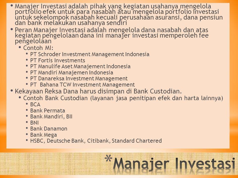 Manajer Investasi adalah pihak yang kegiatan usahanya mengelola portfolio efek untuk para nasabah atau mengelola portfolio investasi untuk sekelompok nasabah kecuali perusahaan asuransi, dana pensiun dan bank melakukan usahanya sendiri