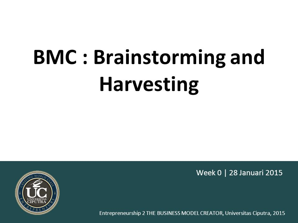 BMC : Brainstorming and Harvesting