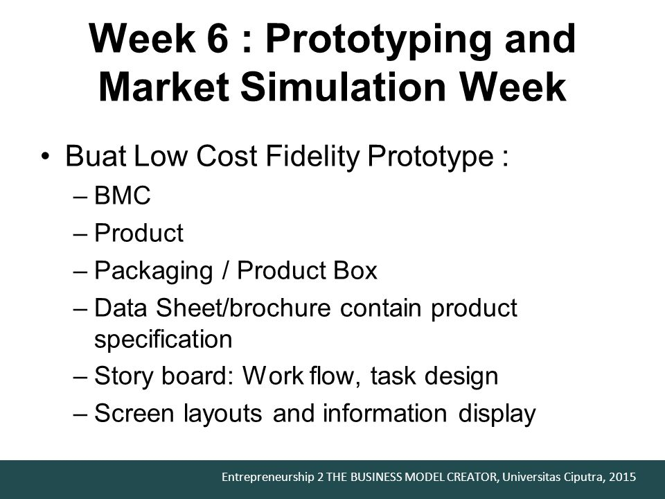Week 6 : Prototyping and Market Simulation Week