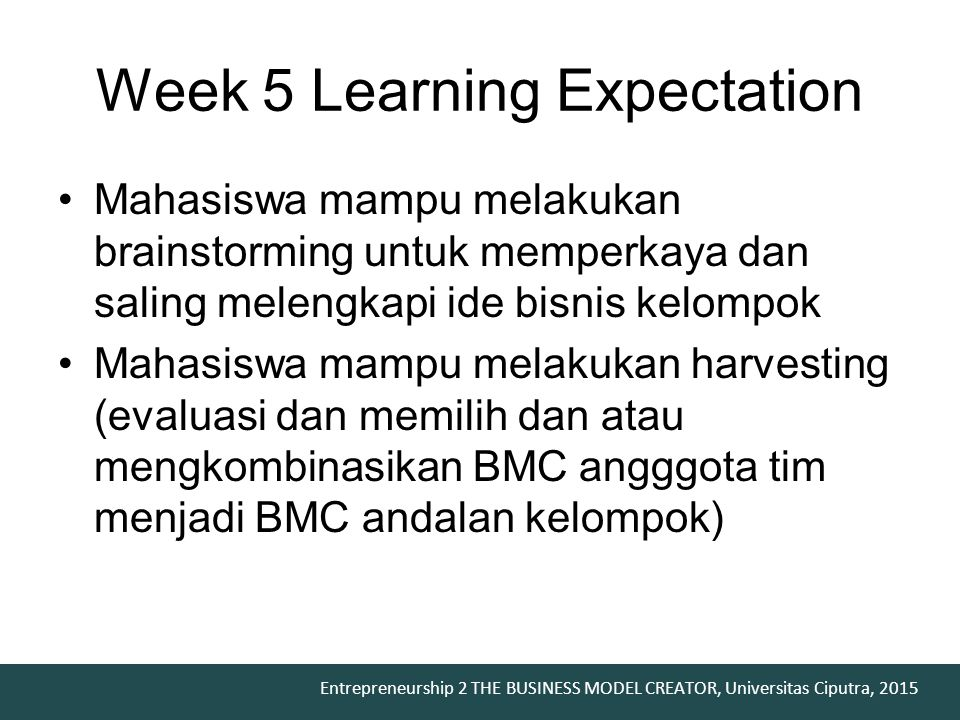 Week 5 Learning Expectation