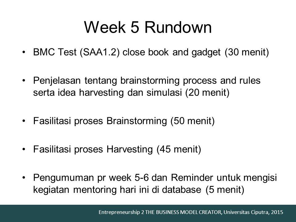 Week 5 Rundown BMC Test (SAA1.2) close book and gadget (30 menit)