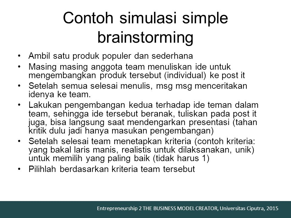 Contoh simulasi simple brainstorming