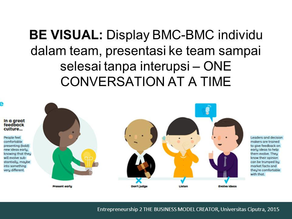 BE VISUAL: Display BMC-BMC individu dalam team, presentasi ke team sampai selesai tanpa interupsi – ONE CONVERSATION AT A TIME