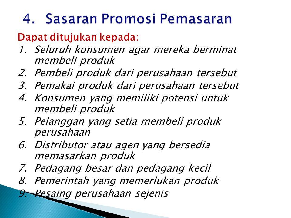 4. Sasaran Promosi Pemasaran