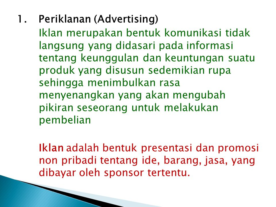 1. Periklanan (Advertising)