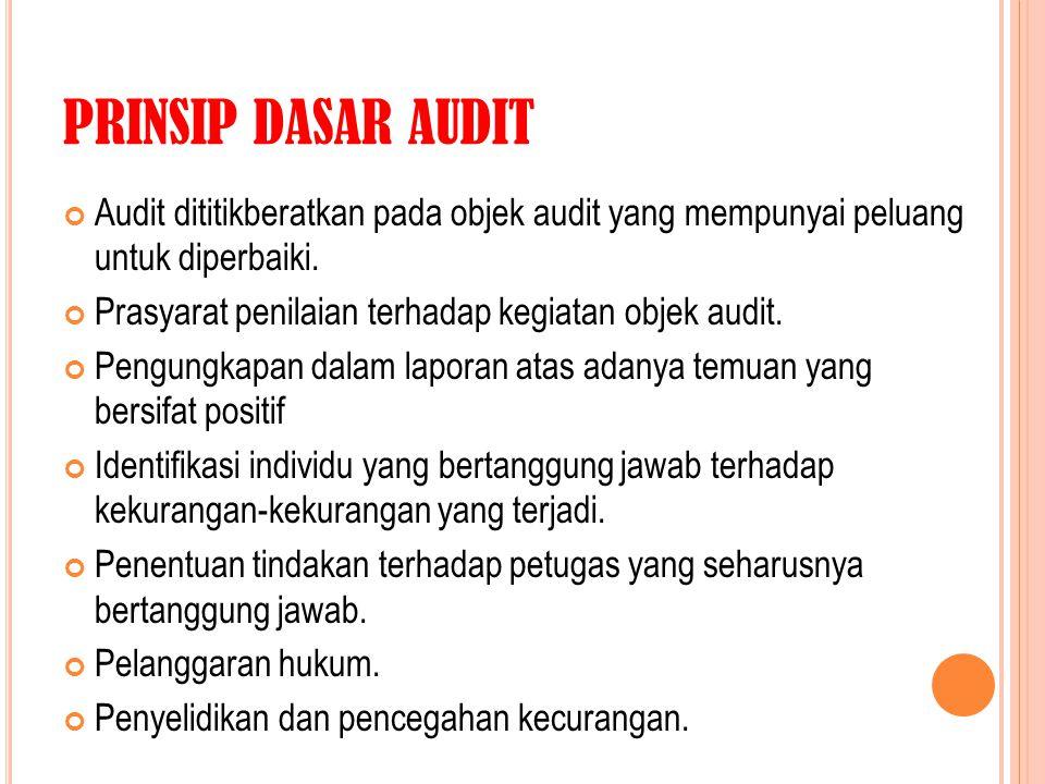 PRINSIP DASAR AUDIT Audit dititikberatkan pada objek audit yang mempunyai peluang untuk diperbaiki.