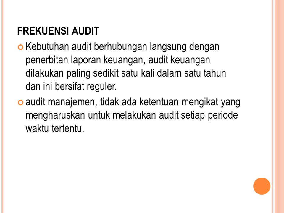 FREKUENSI AUDIT