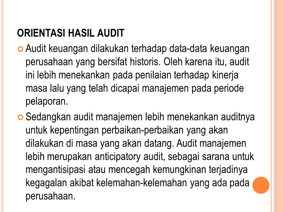 ORIENTASI HASIL AUDIT