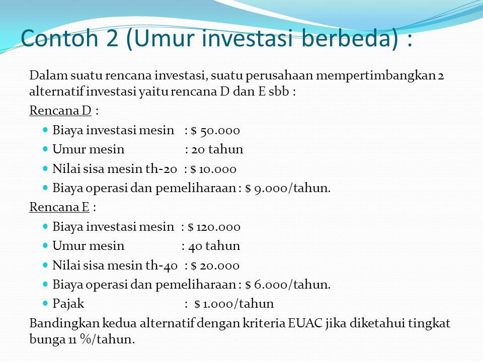 Contoh 2 (Umur investasi berbeda) :