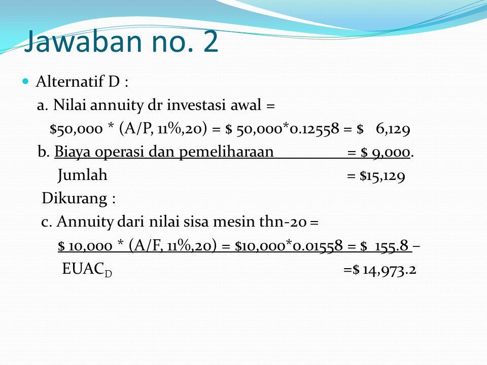 Jawaban no. 2 Alternatif D : a. Nilai annuity dr investasi awal =