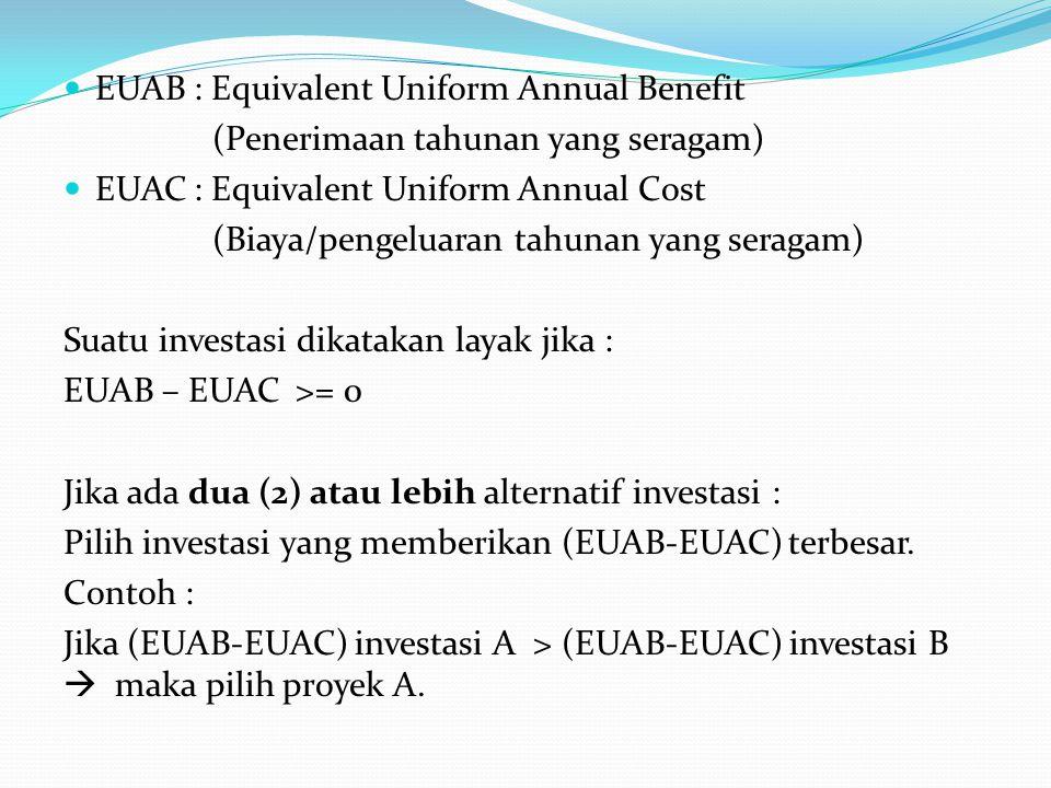 EUAB : Equivalent Uniform Annual Benefit