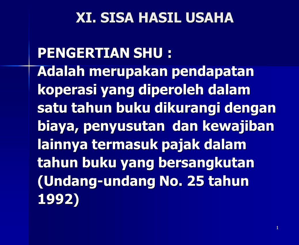 XI. SISA HASIL USAHA PENGERTIAN SHU : Adalah merupakan pendapatan. koperasi yang diperoleh dalam.