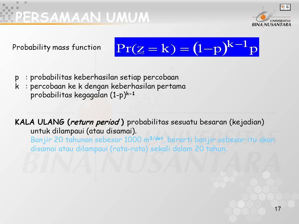 PERSAMAAN UMUM Probability mass function :