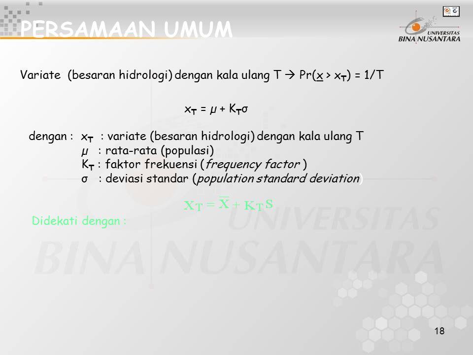 PERSAMAAN UMUM Variate (besaran hidrologi) dengan kala ulang T  Pr(x > xT) = 1/T. xT = µ + KTσ.