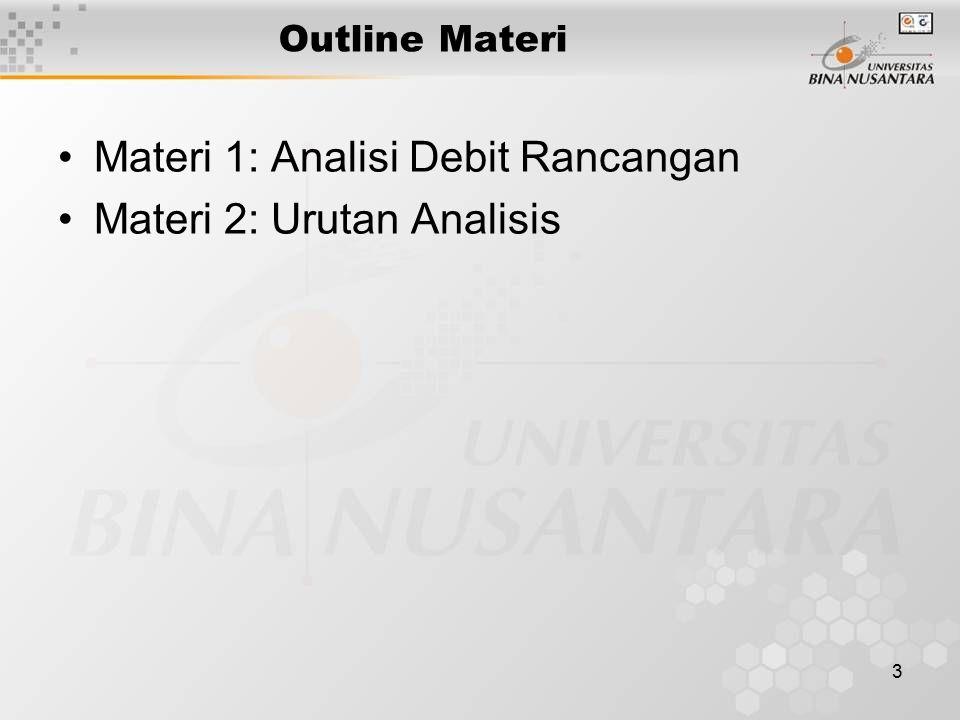 Materi 1: Analisi Debit Rancangan Materi 2: Urutan Analisis