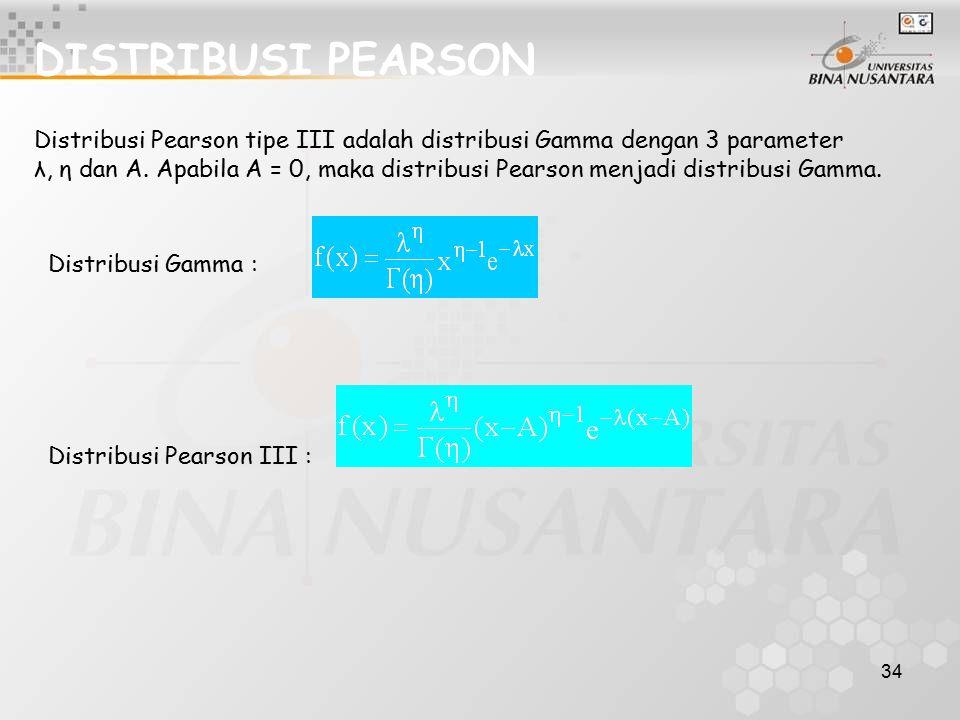 DISTRIBUSI PEARSON Distribusi Pearson tipe III adalah distribusi Gamma dengan 3 parameter.