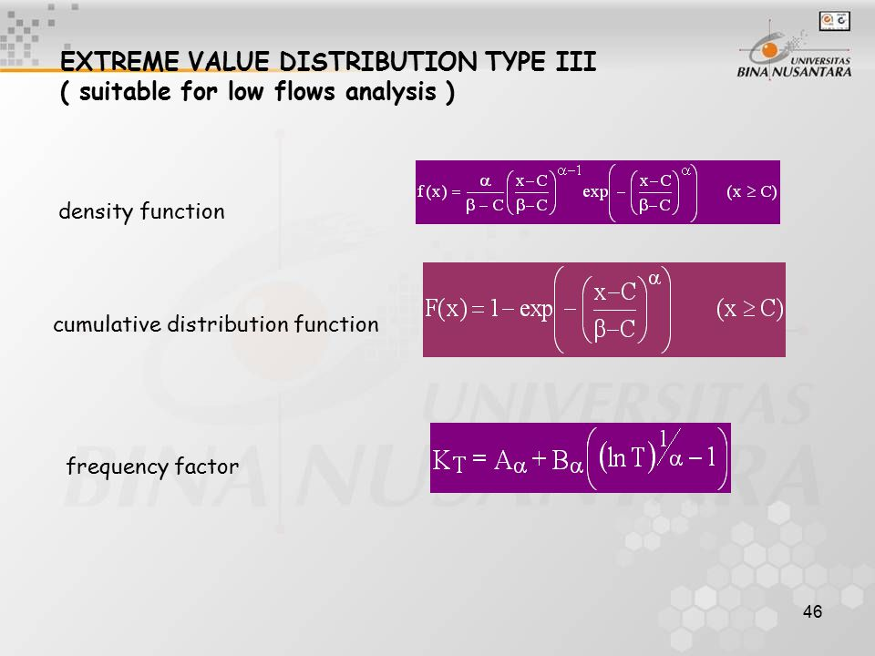 EXTREME VALUE DISTRIBUTION TYPE III ( suitable for low flows analysis )
