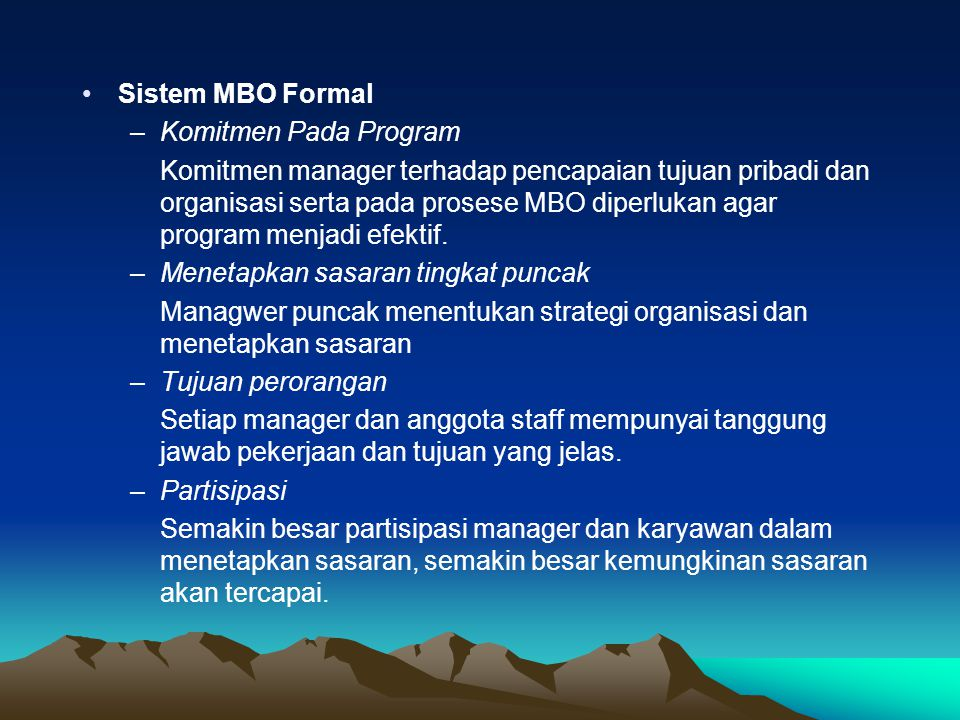 Sistem MBO Formal Komitmen Pada Program.