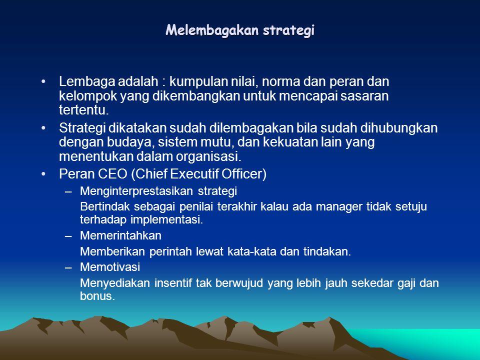 Melembagakan strategi